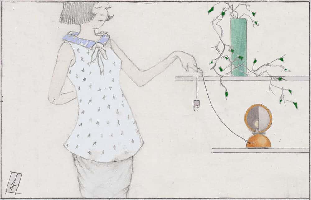 lampada Eclisse Artemide illustrazione naif