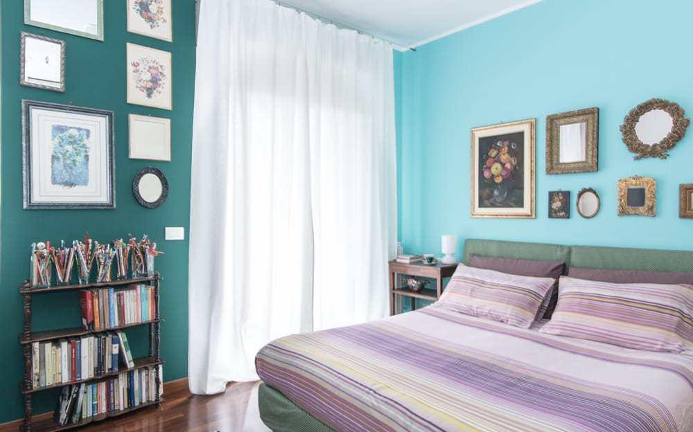camera da letto elegante e raffinata, verde e tiffany