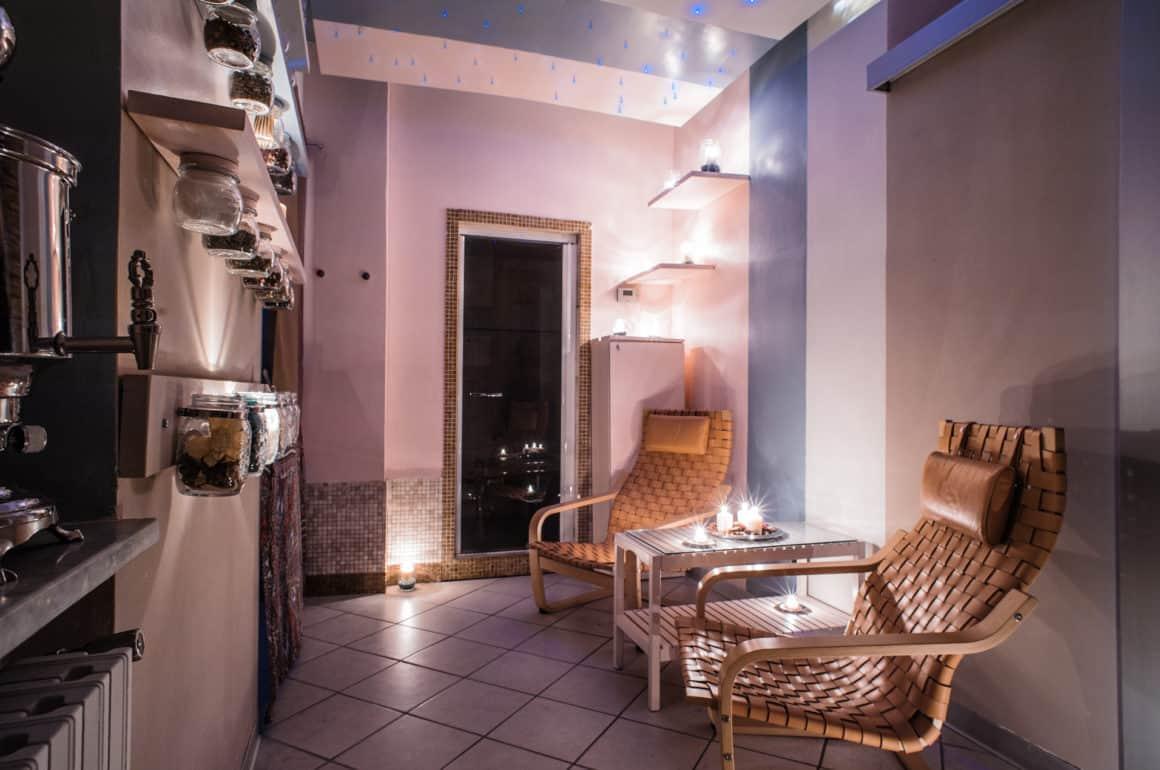 Sala Relax progettazione d'interni parete tisane