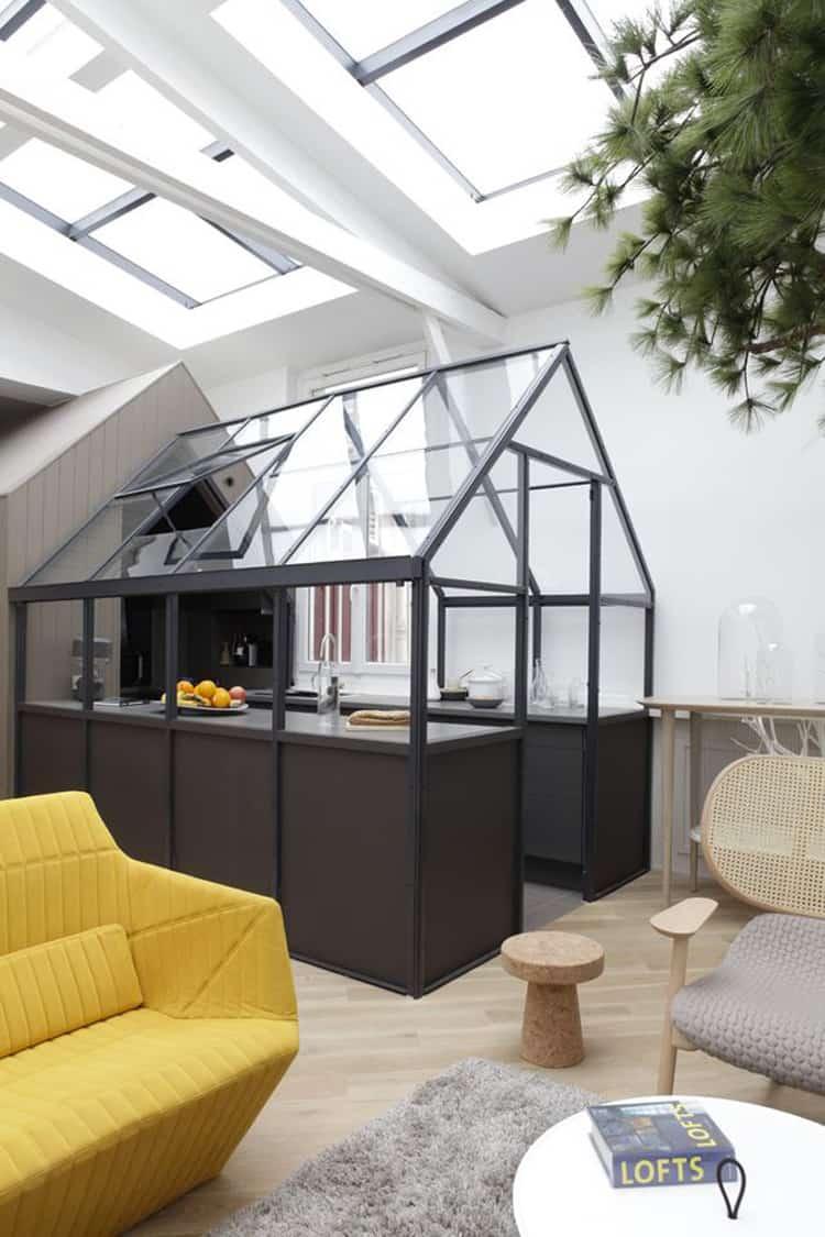parete vetrata per dividere cucina e salotto parete di vetro
