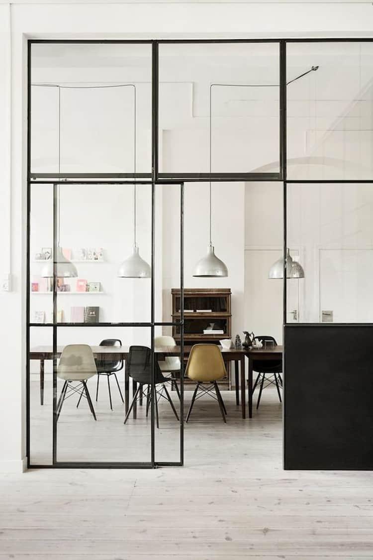 Parete Ferro E Vetro parete vetrata tra cucina e salotto | unprogetto