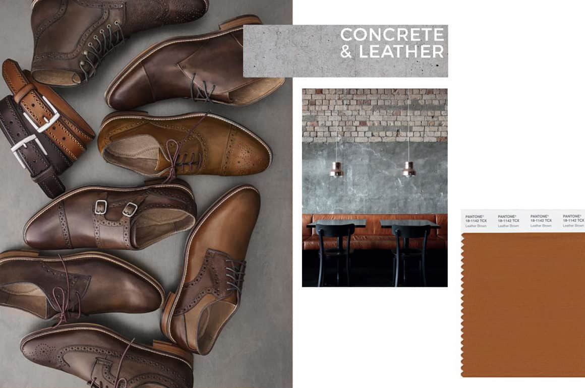 concrete and leather - industrial style - interior trend