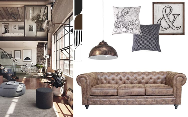 living room style natural vintage industrial palette