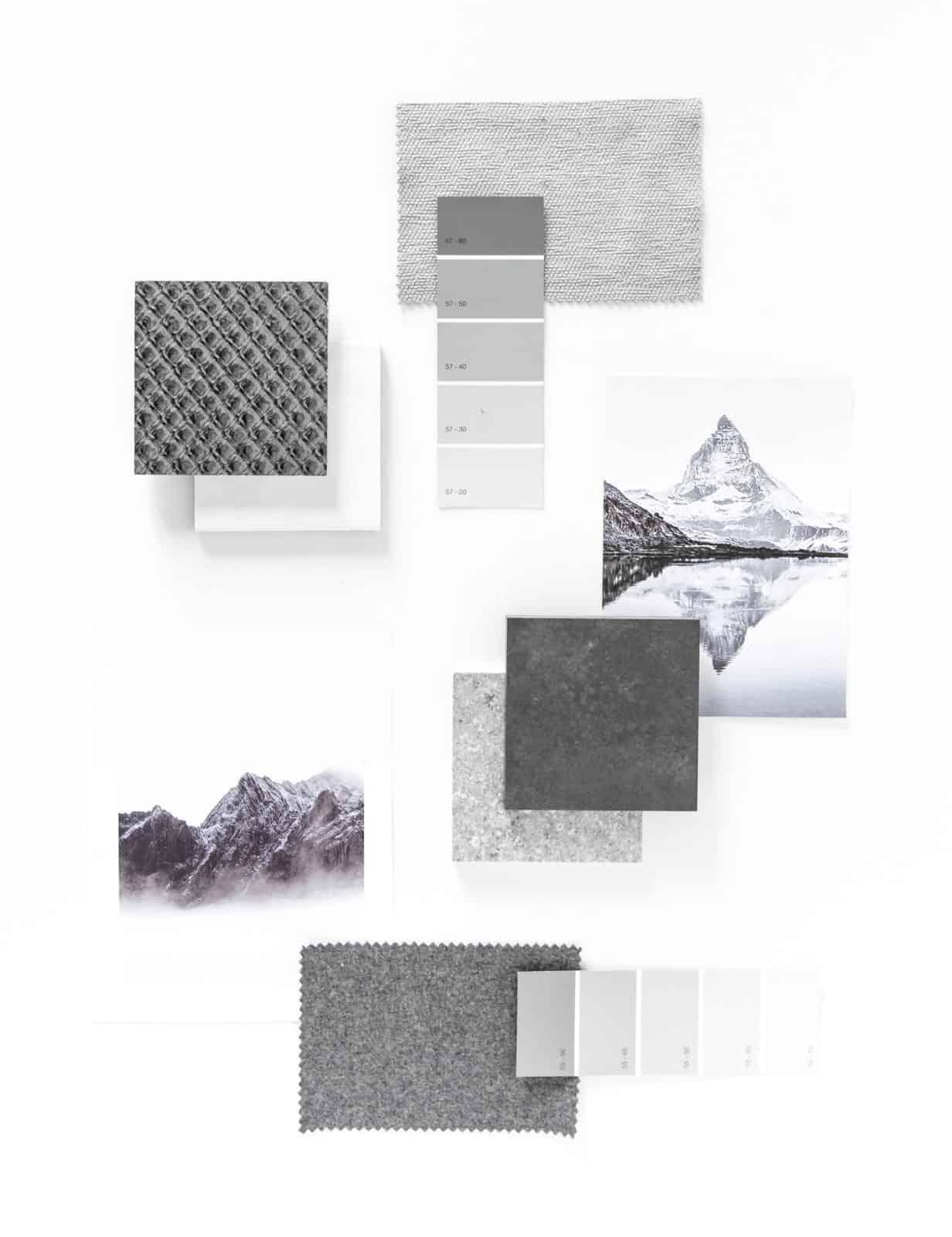 palette di colori ispirata alla montagna FAP ceramiche bagno in scala di grigio