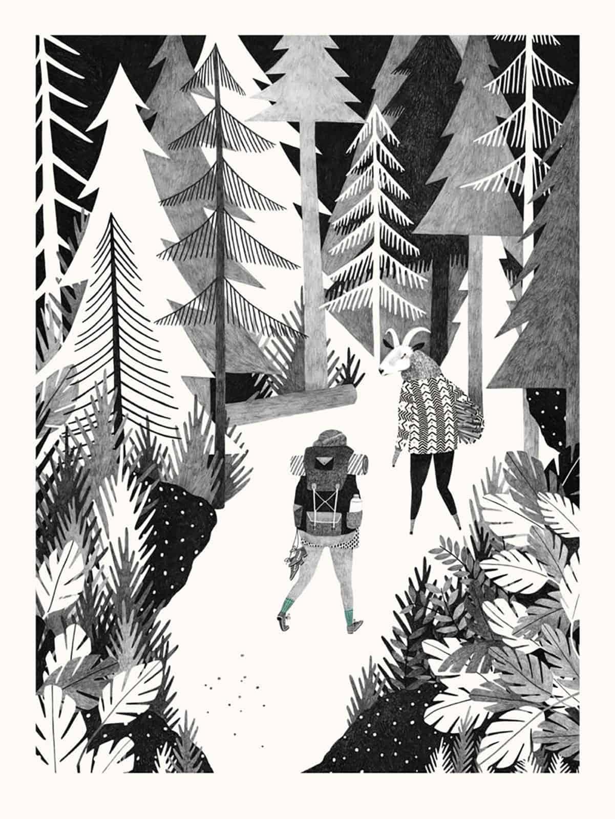 illustrazione amore bosco nordico