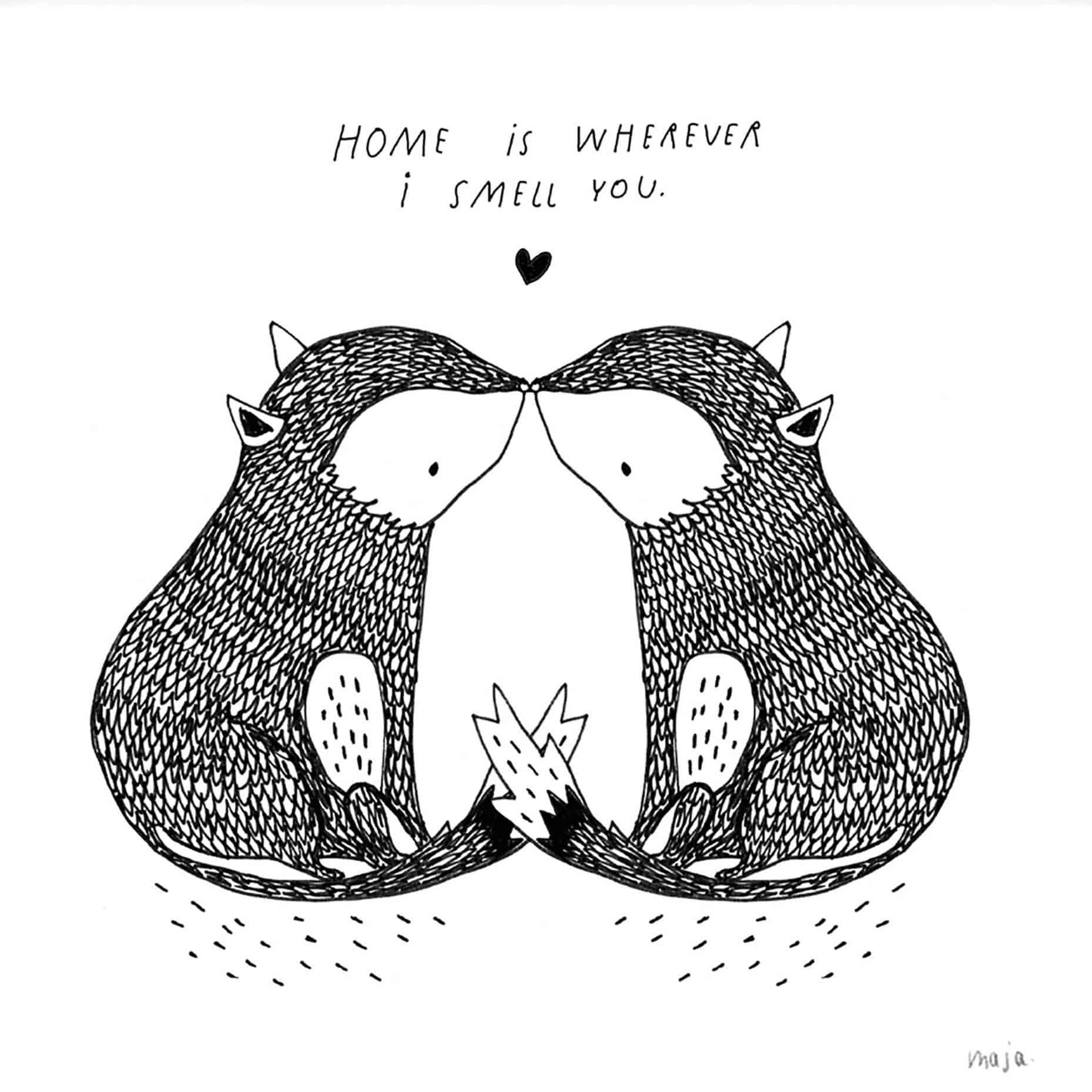 illustrazione amore casa nordico animali