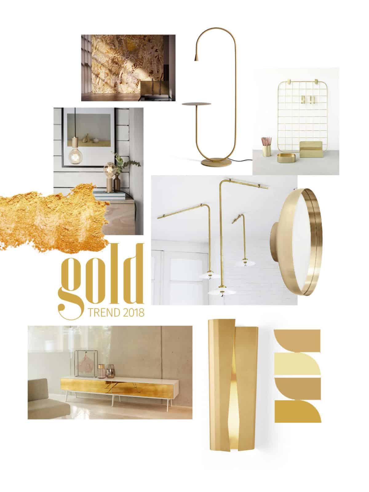 oro trend 2018 moodboard oro ispirazione interior design