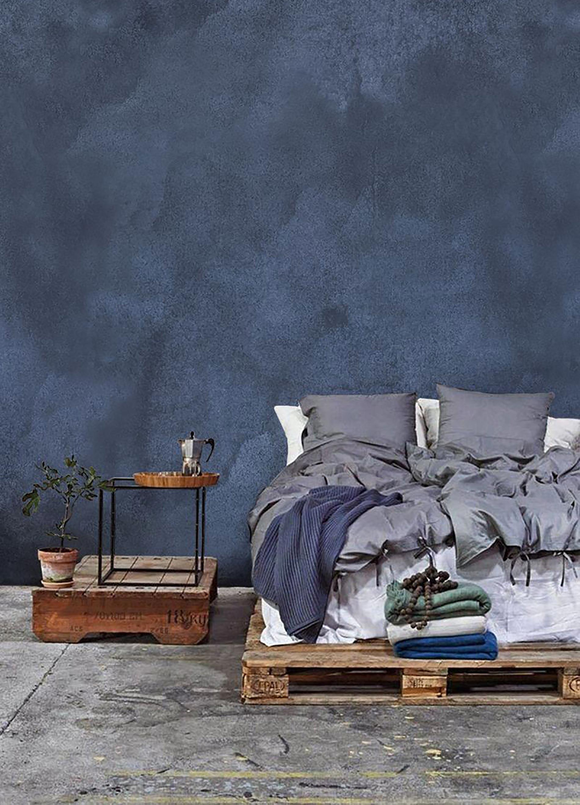 denim nell'arredamento trend d'interni  camera da letto blu