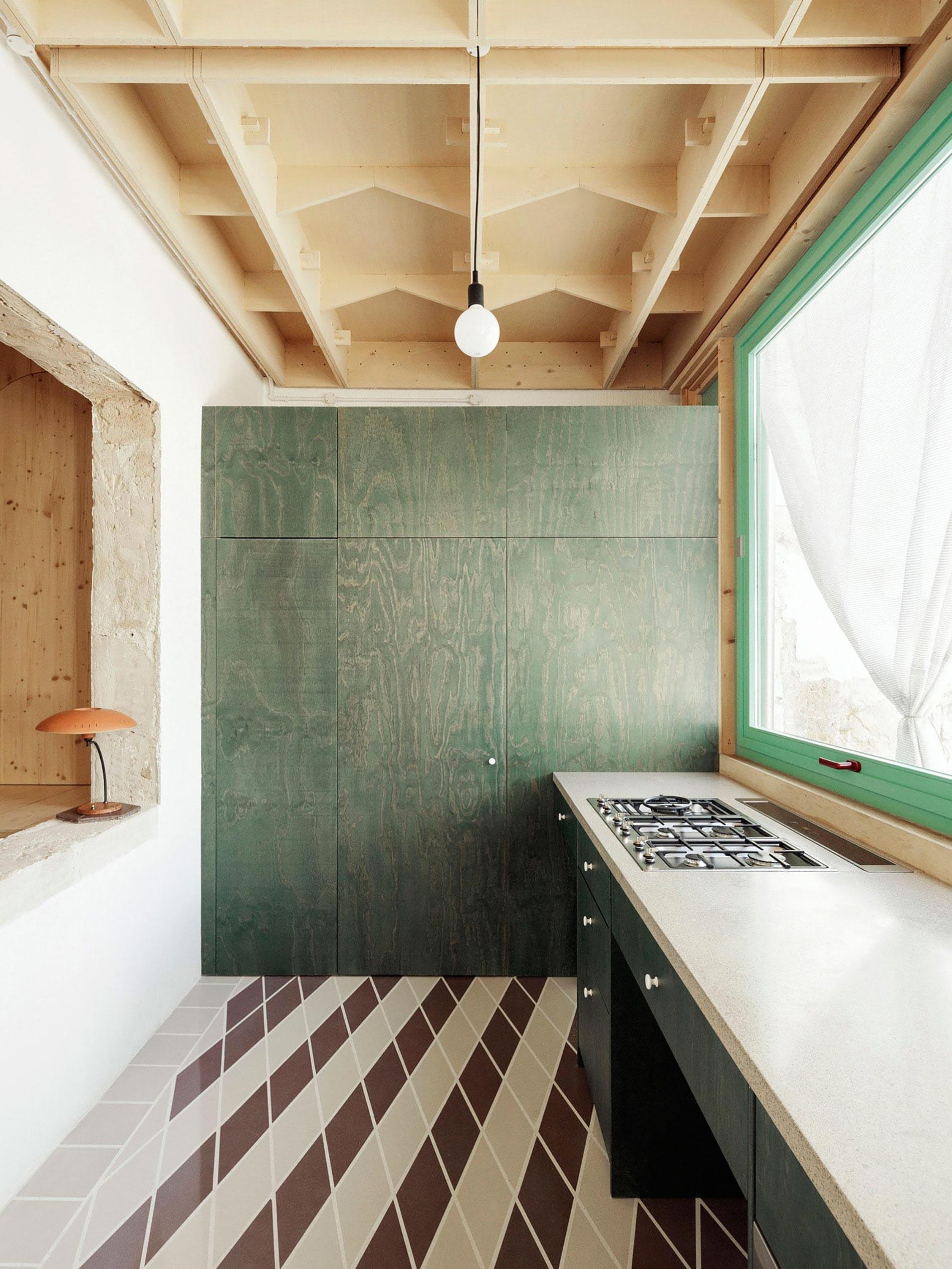 Plywood casa di legno cucina verde