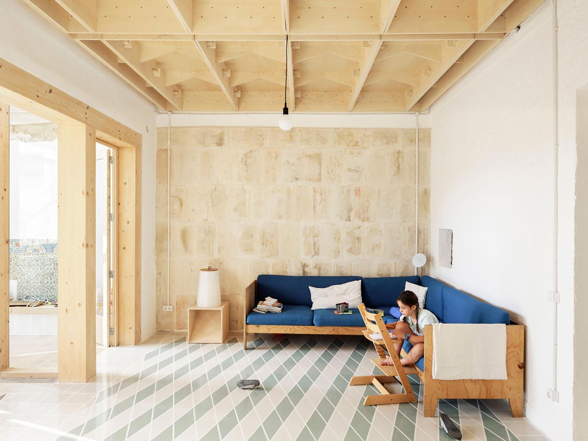 Plywood casa di legno divano blu