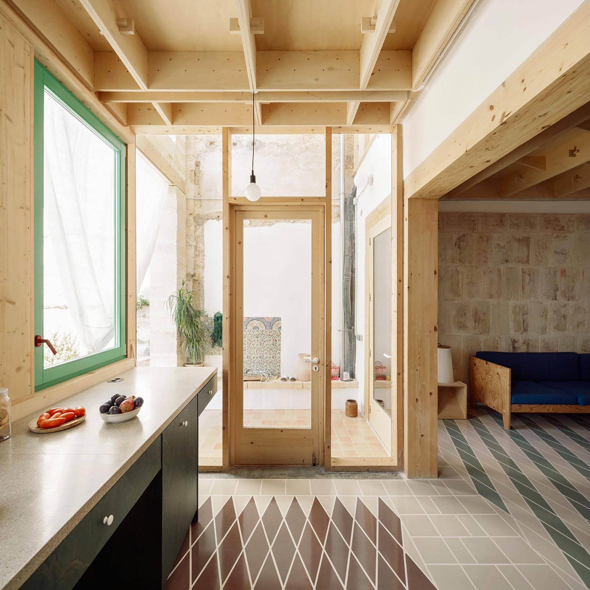 Plywood casa di legno porta finestra