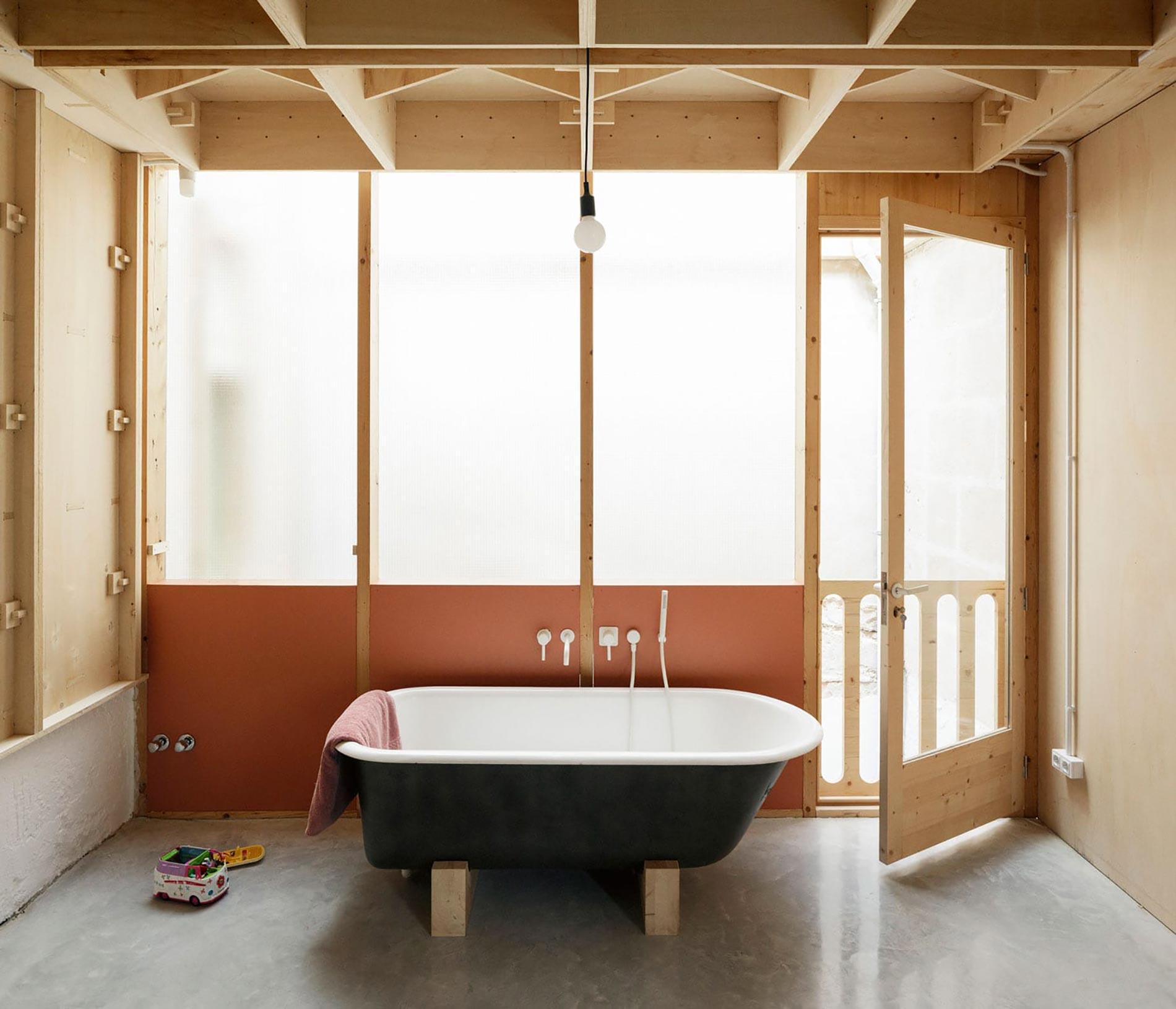 Plywood casa di legno vasca da bagno