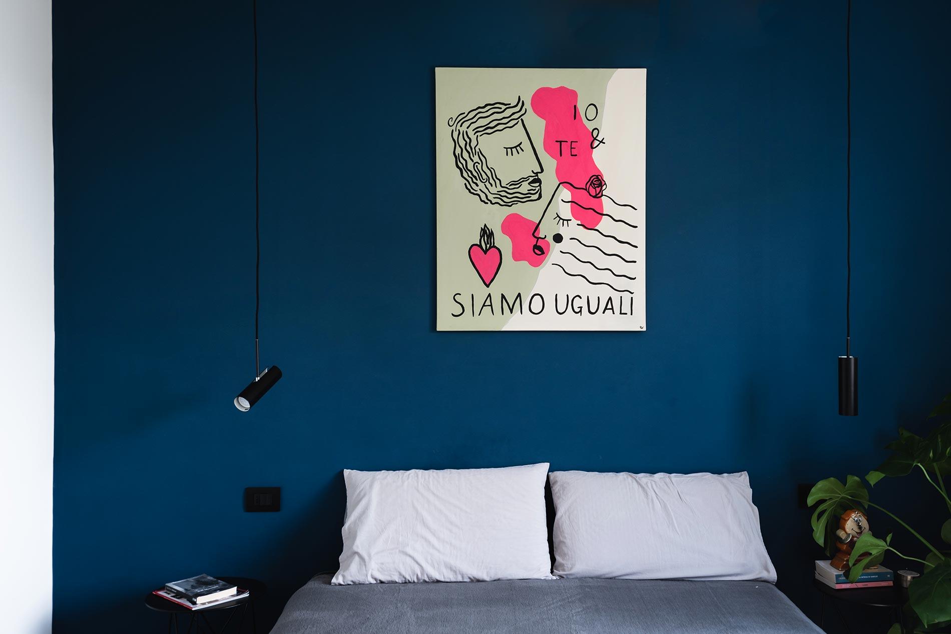 camera da letto blu design d'interni savona