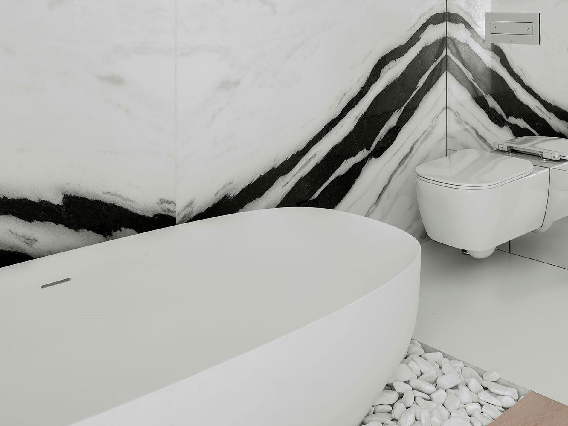 vasca freestanding bagno bianco nero