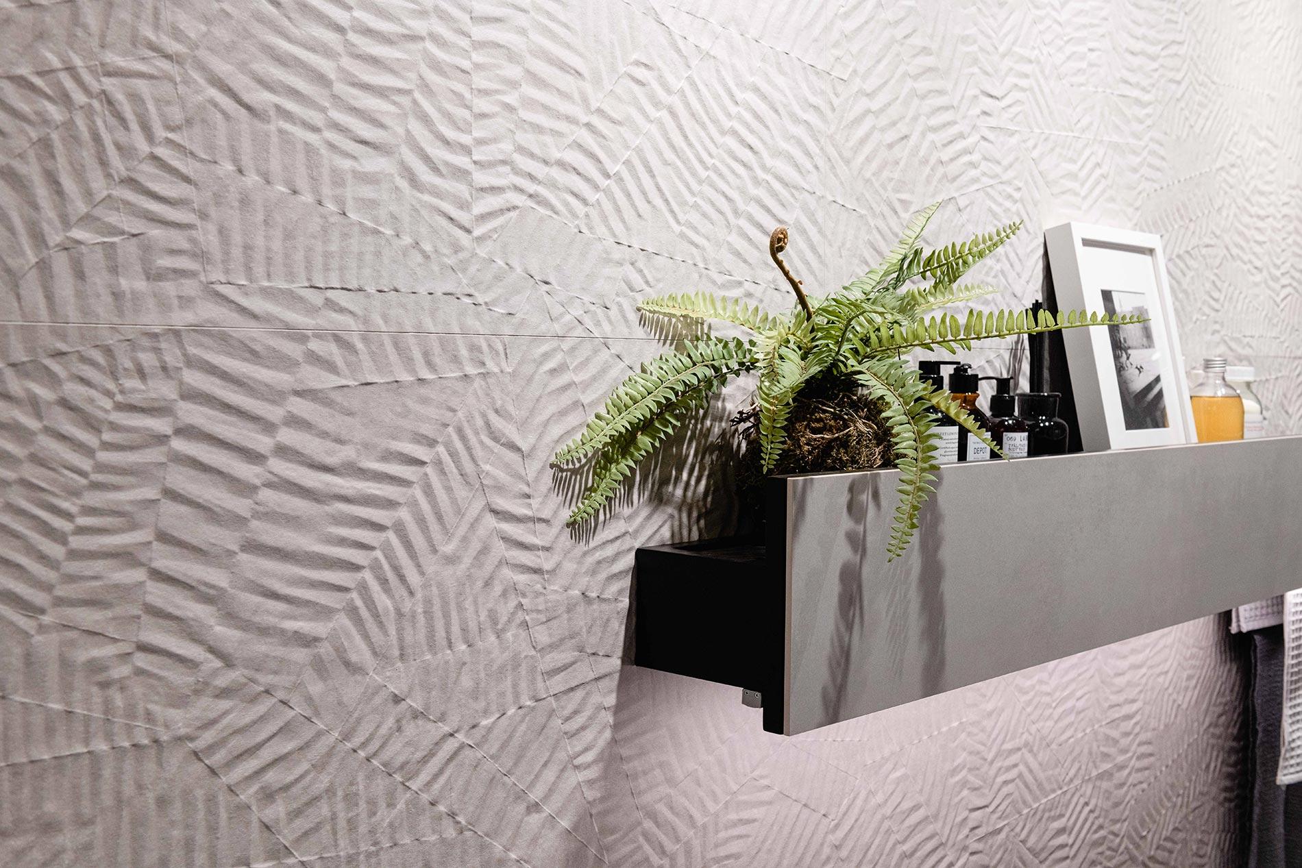 piastrelle tridimensionali per il bagno