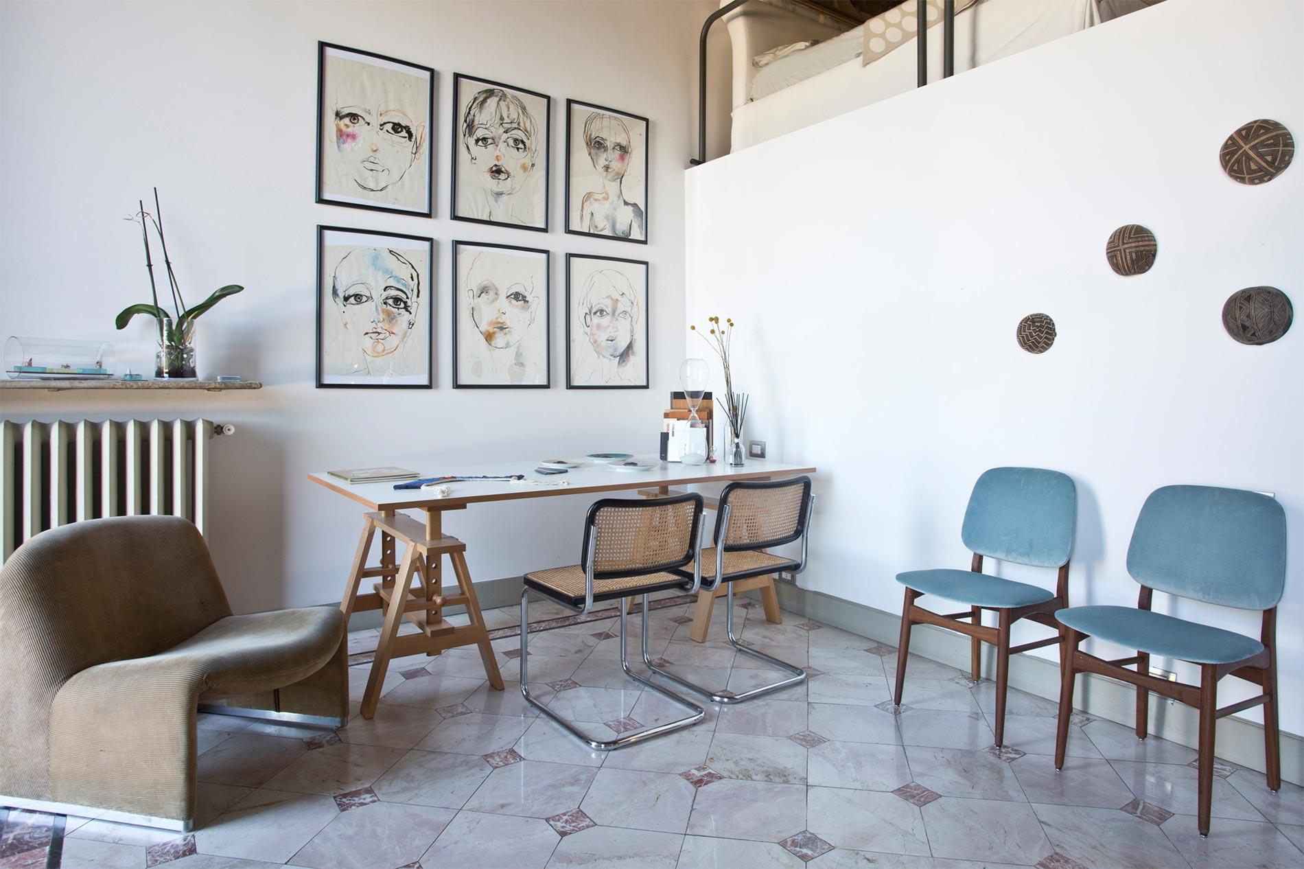 pavimento in marmo palladiana e graniglia come arredare