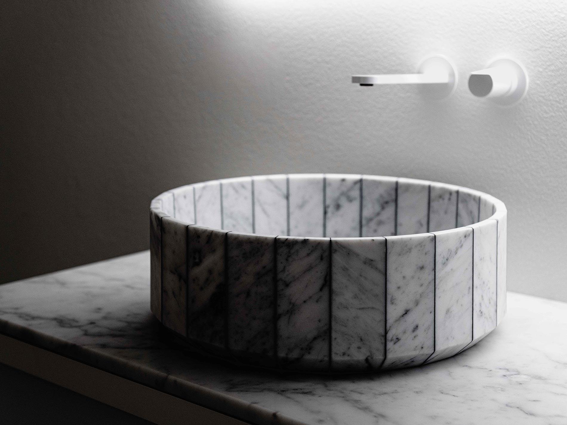 antoniolupi e tra le righe gumdesign carta da parati lavabo in marmo
